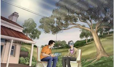 نوجوان لڑکا اور لڑکی درخت کے سائے تلے بیٹھے گفتگو کررہے ہیں
