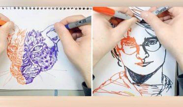 ایک وقت میں دونوں ہاتھوں سے بننے والی تصاویر