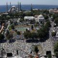 آیا صوفیا مسجد میں نماز جمعہ کی ادائیگی کے فضائی مناظر